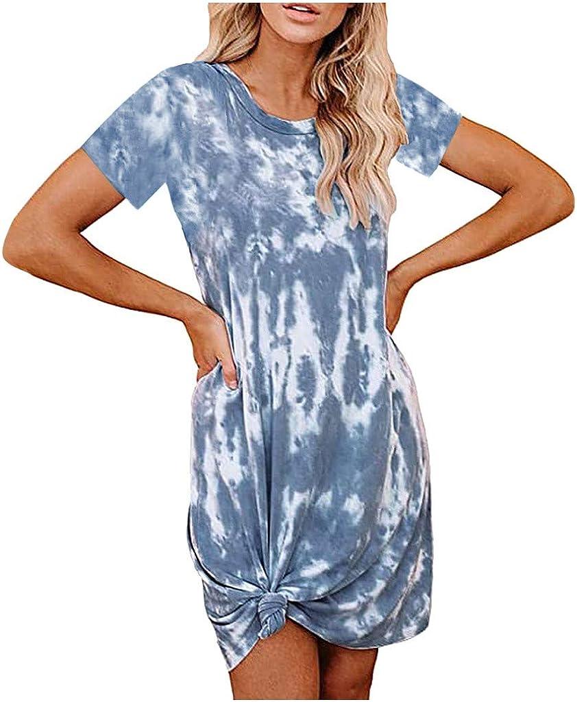 Shakumy Women Short Sleeve Tshirt Dresses Side Knot Casual Summer Short Mini Dress Beach Sundress Party Tunic Shift Dress