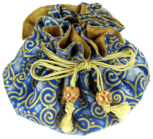 Bridesmaid Jewelry Pouch (Silk & Cotton Drawstring Jewelry Pouch, Navy Blue with Gold Swirls)