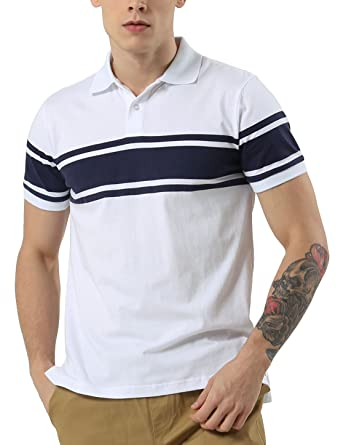 034aa9363357a Sourcingmap Men Striped Print Split Side Point Collar Short Sleeves Polo  Shirt Small White