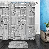 Vanfan Bathroom 2?Suits 1 Shower Curtains & ?1 Floor Mats abstract geometric pattern sci fi wallpaper background d rendering 369001118 From Bath room