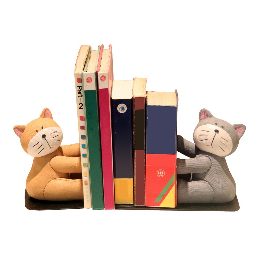 Eastyle Heavy Duty Cat Bookend Nonskid Bookends for Kids Students Tabletop Organizers