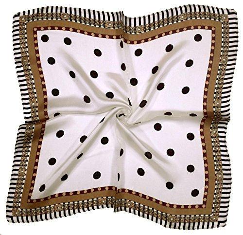 Printed Silk Square Scarf (White Brown Black Spot Printed Small Fine Pure Silk Square Scarf)
