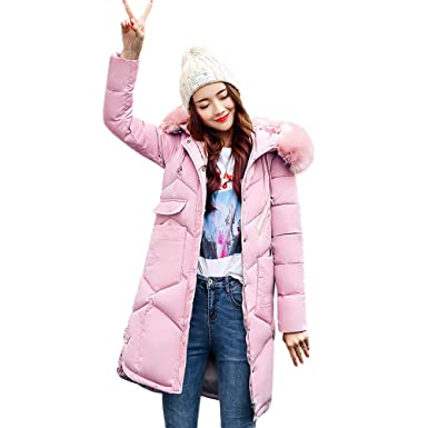 b7f8a8ef15121 Amlaiworld Abrigo Invierno Mujer Abrigos con Capucha de Piel para Mujer  Abrigos Largos de algodón Acolchado Abrigos de Bolsillo Chaquetas Caliente  Outwear  ...