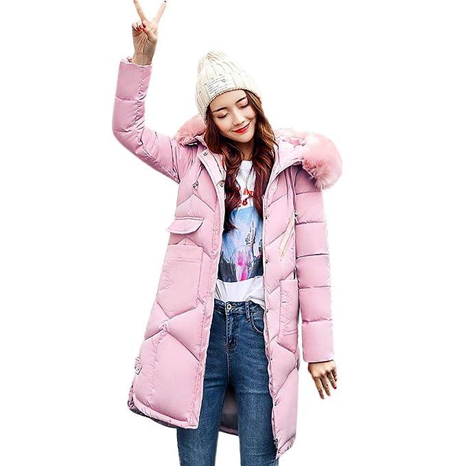 87dfeab031b Amlaiworld Abrigo Invierno Mujer Abrigos con Capucha de Piel para Mujer  Abrigos Largos de algodón Acolchado Abrigos de Bolsillo Chaquetas Caliente  Outwear: ...