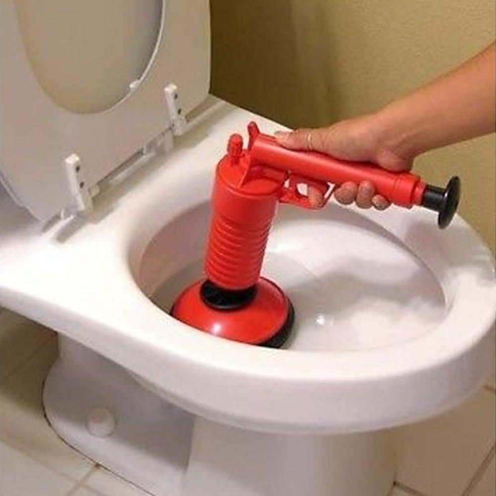 Shoze Air Pressure Drain Pump Pipe Dredge Tools Air Power Drain Toilet Plunger Cleaner with 2 Adaptors SD