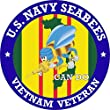 US Navy Seabees Vietnam Veteran 3.8 Inch Decal (2 Pack) by Vinyl USA