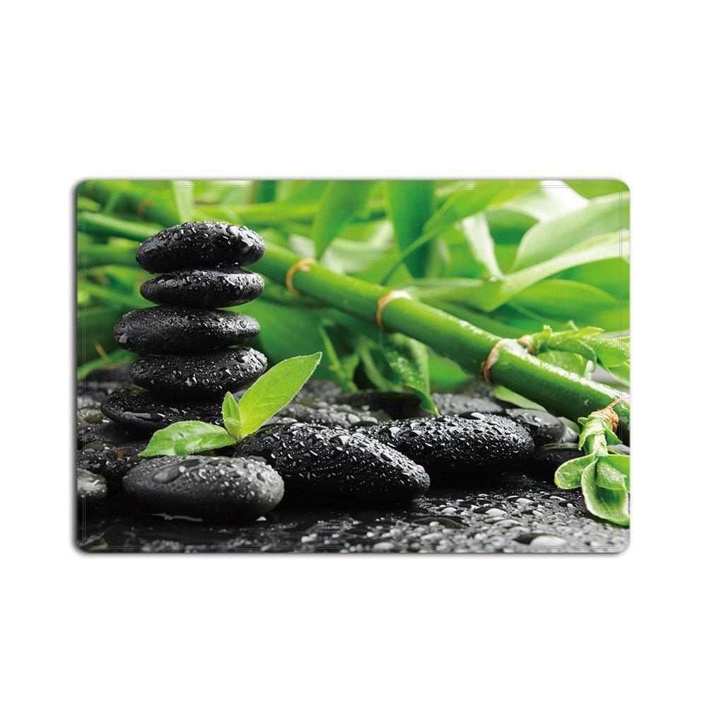JackieTD Door Mats Green Spa Still Life With Bamboo Fountain And Zen Stone Indoor/Outdoor Doormat by 18''x30''