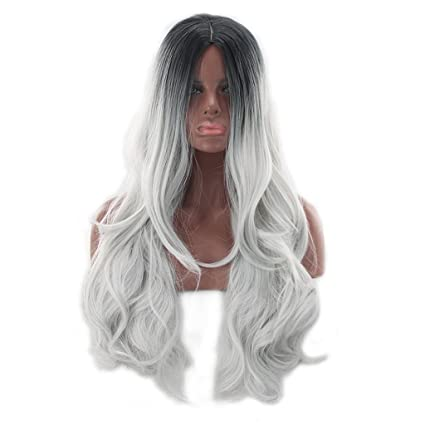 Peluca De Mujer Sintética Larga Rizada Dos Tonos Negro Con Raíz Gris  Resistente Al Calor Barato 8ef862deb714