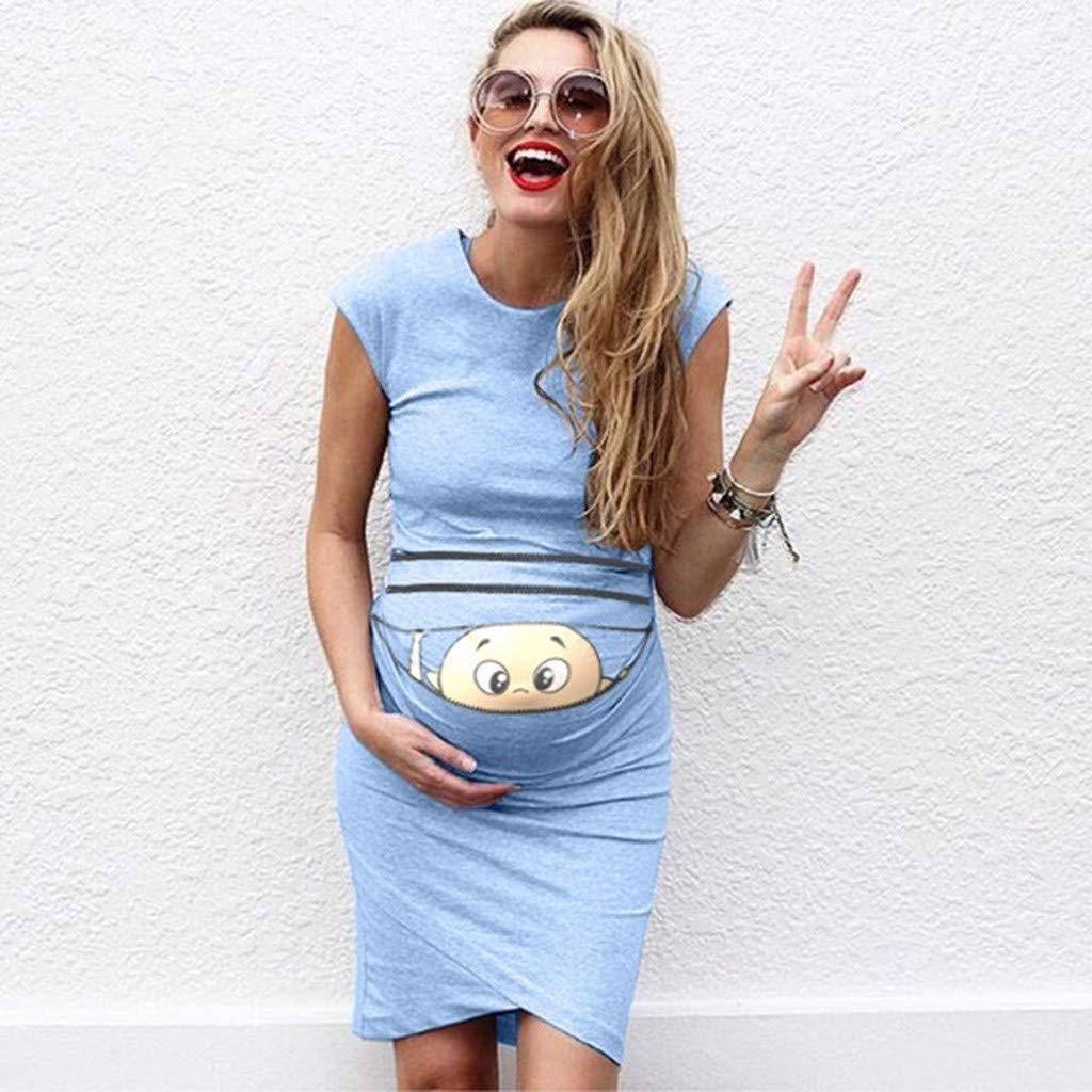 c2fc5424daec9 Hemlock Maternity Summer Sleeveless Dress, Pregnant Cute Print Funny ...