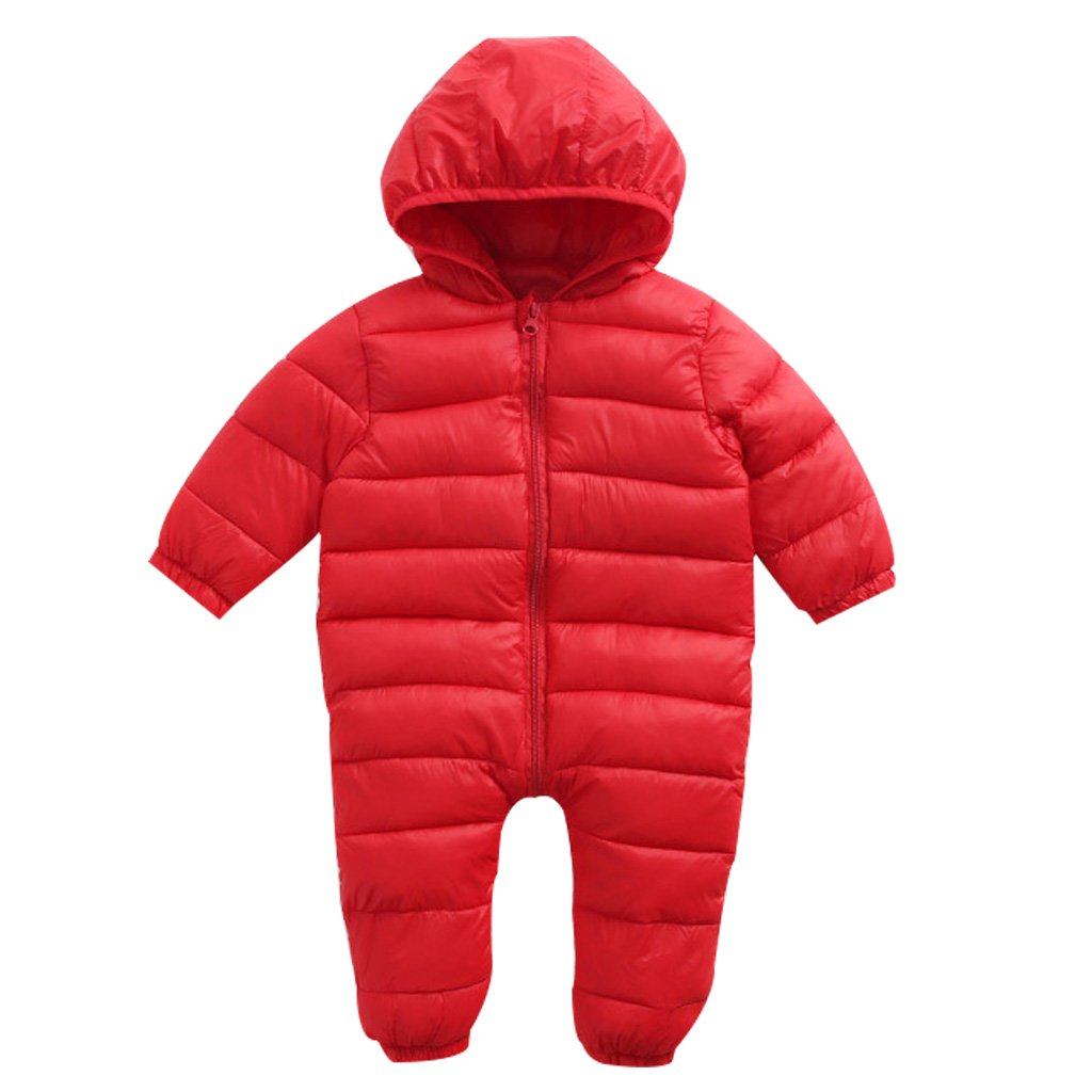 Vine Baby Hooded Rompers Snowsuits Lighweight Onesies Jumpsuit Zipper Front Winter Outfits MY001V