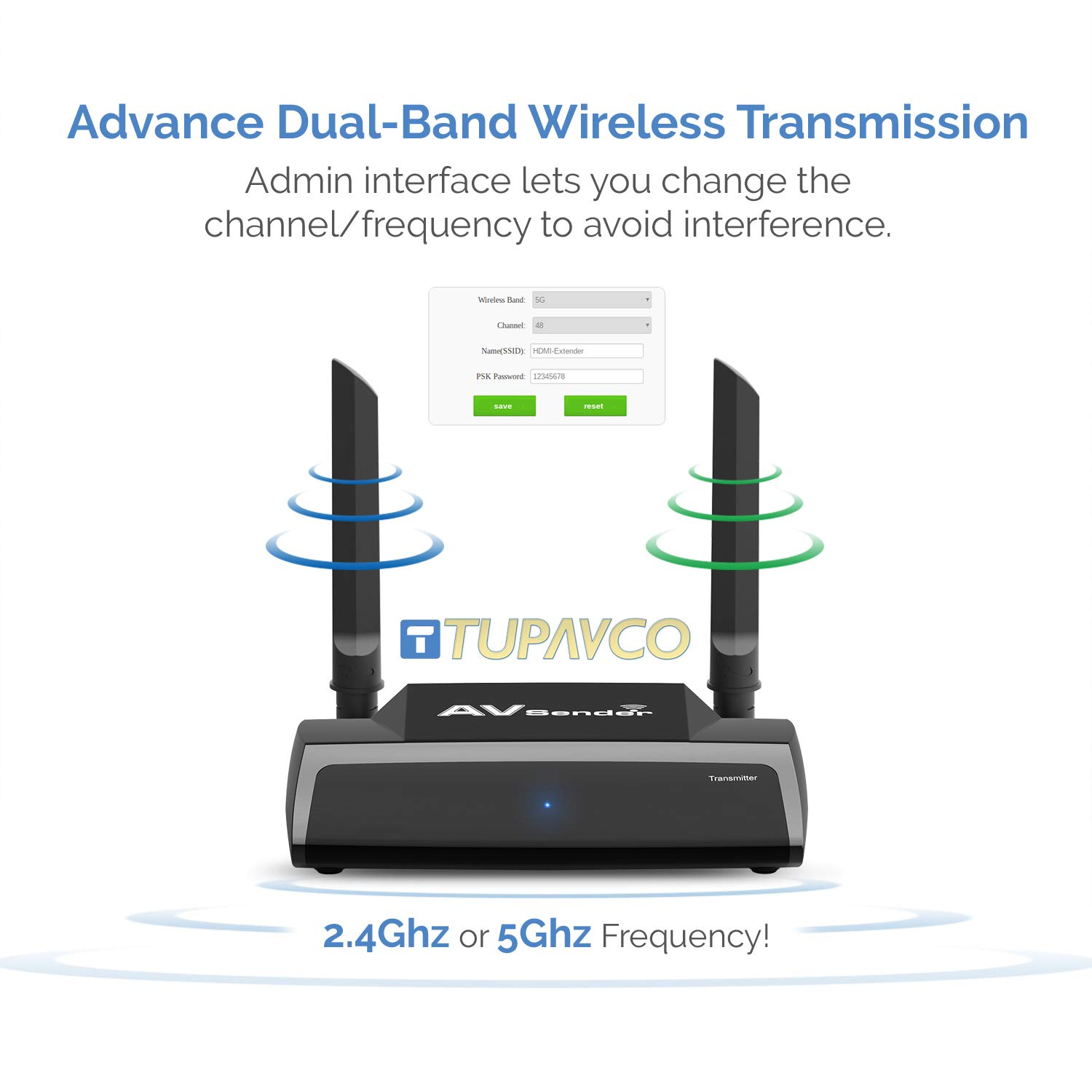 Wireless HDMI Transmitter and Receiver -TRM245 HD Extender Kit -2.4/5GHz Sender Isolated WiFi -1080P Video/Audio/IR Remote Signal Range Extension for Cable Box/Computer/PC-Projector/Monitor/TV Display by Tupavco (Image #4)