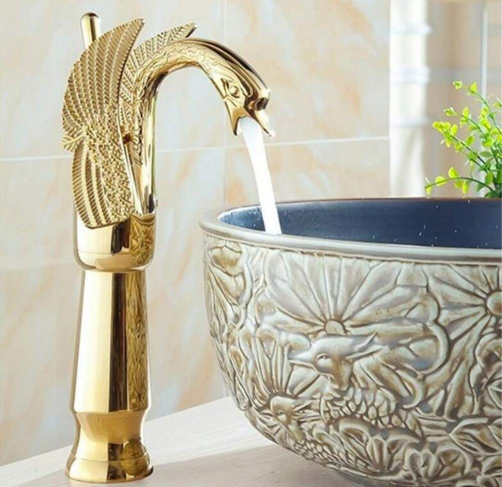Brass Chrome Hot and Cold Water Mixer gold Plated Swan Model Wash Basin Faucet Fashion Bathroom Hot and Cold Water Basin Tap