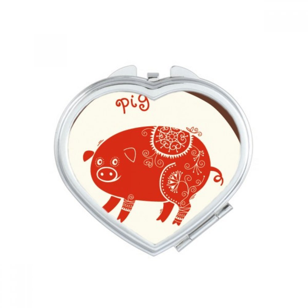 DIYthinker Year Of Pig Animal China Zodiac Red Heart Compact Makeup Mirror Portable Cute Hand Pocket Mirrors Gift