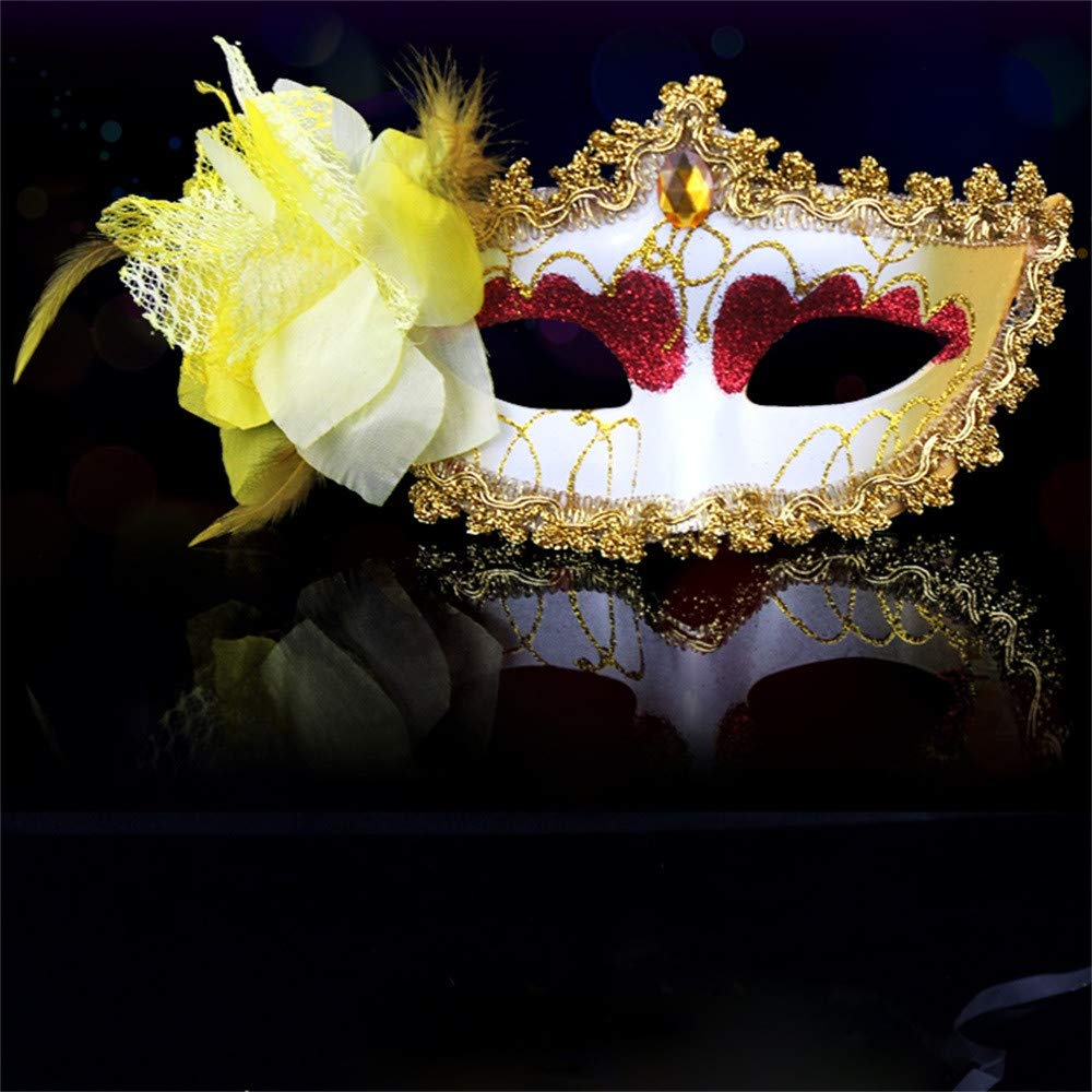 Amaping Women Clearance Masquerade Lace Mask Half Face Elegant Princess Prom Party Hollow Out Novelty Decorative Mask for Carnival Fancy Party (Yellow) by Amaping (Image #2)