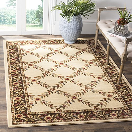 Safavieh Lyndhurst Collection LNH557-1225 Traditional Floral Trellis Ivory and Brown Area Rug (6'7