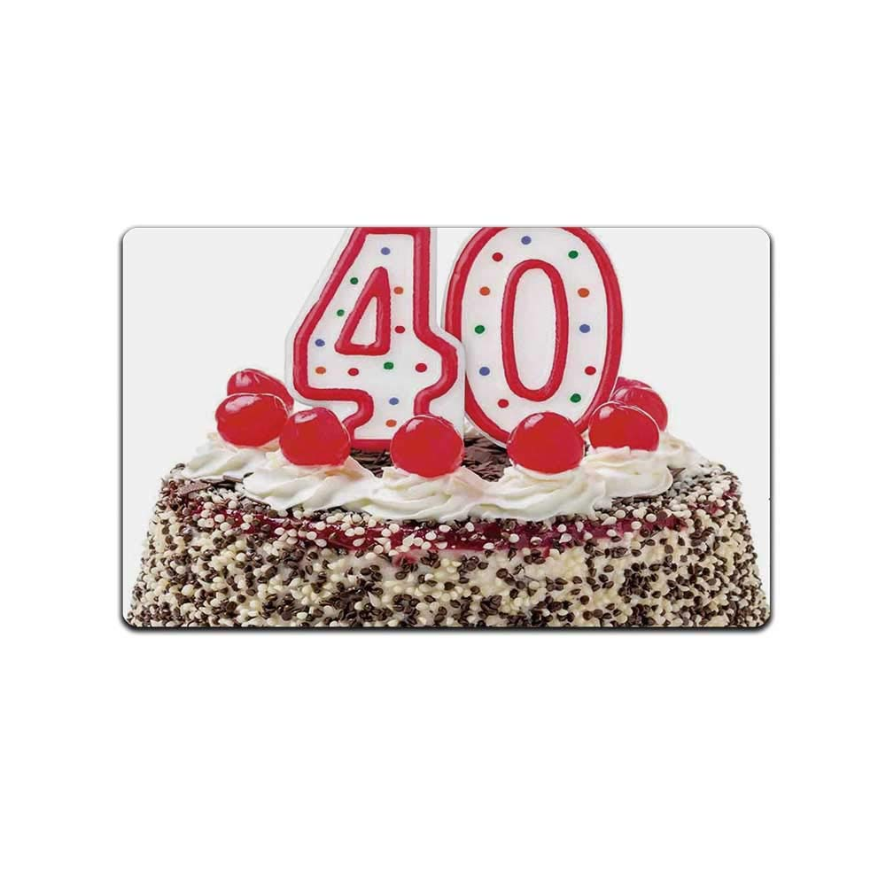 YOLIYANA 40th Birthday Decorations Doormat,Yummy Desert Sweet Party Cake Burning Number Candles Cherries for Kitchen,31'' Lx19 W