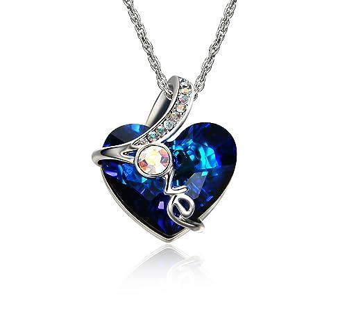 Amazon akvode womens blue swarovski crystal ocean heart shaped akvode womens blue swarovski crystal ocean heart shaped crystal heart pendant necklace 18k white gold aloadofball Images