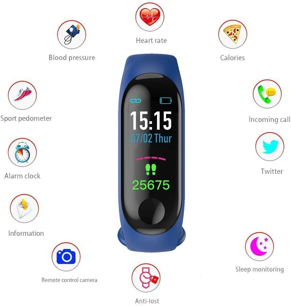 Blood Pressure Calorie Burned OLED Display for Android and iOS Un-Tech Gadgetbucket Fit Band with Activity Tracker Heart Rate Monitor
