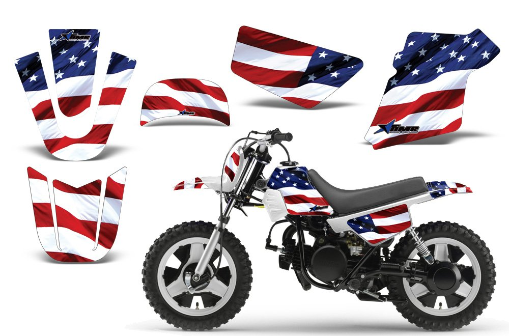 Stars & Stripes-AMRRACING MX Graphics decal kit fits Yamaha PW50 All years-Red-White_Blue AMR RACING