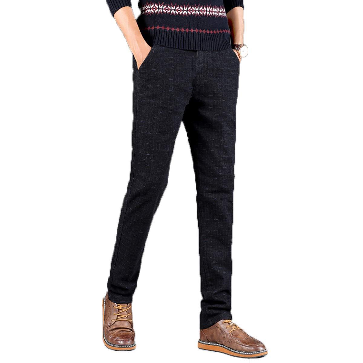 Men's Slim-Fit Wrinkle-Resistant Flat-Front Pant Casual Straight Trousers Fmeijia Black