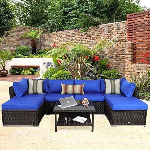 Outdoor Rattan Brown Couch Wicker 7PCS Sectional Conversation Sofa Set Lawn Garden Patio Furniture Set