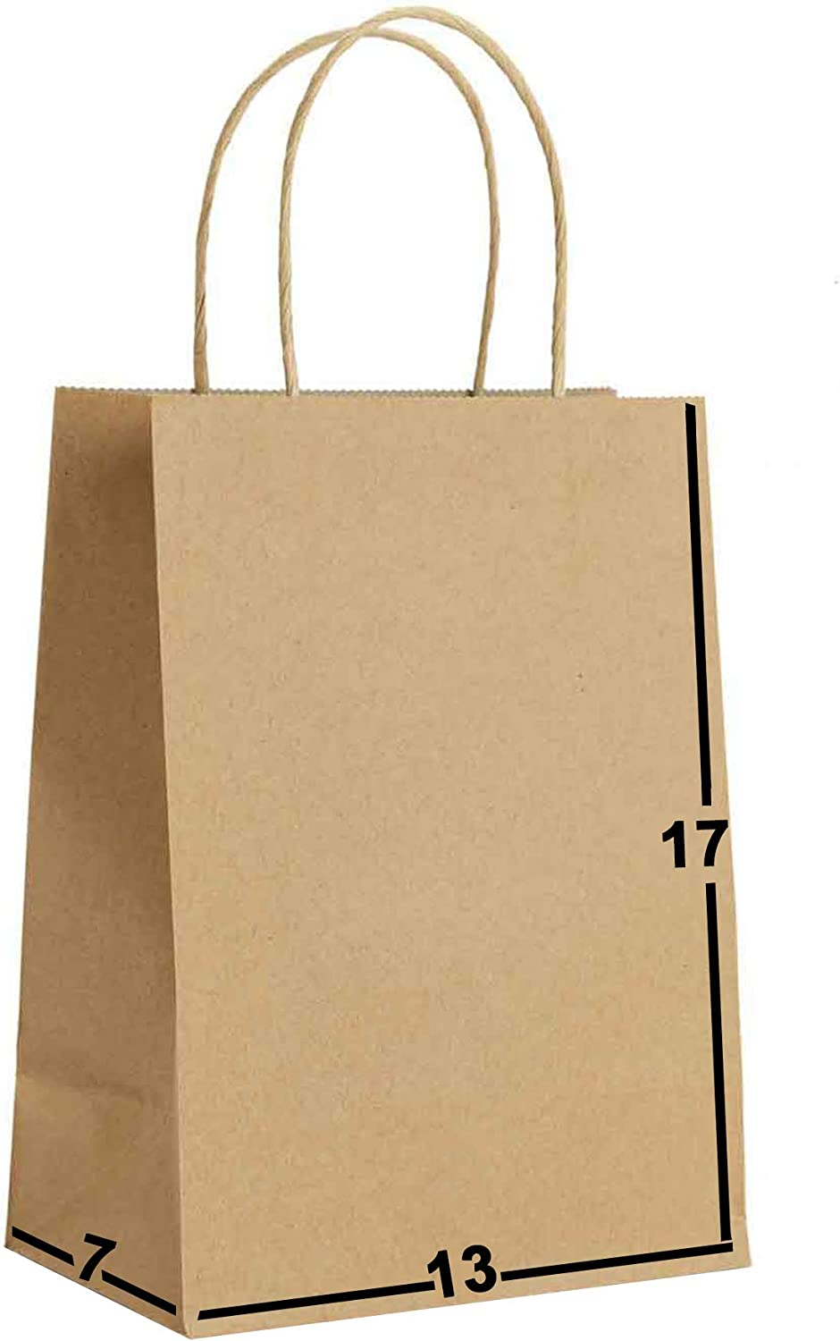 50 Packs-Brown Kraft Paper Gift Bags Bulk with Handles 13 X 7 X 17. Ideal for Shopping, Packaging, Retail, Party, Craft, Gifts, Wedding, Recycled, Business, Goody and Merchandise Bag (Brown, 50 Bags)