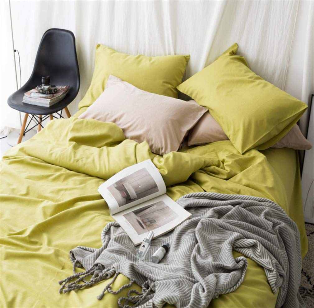 Bettwäsche-Sets, reine Farbe ägyptische Baumwolle 800TC Blatt-Set, Super-King-Größe, Luxus Bettbezug Bettwäsche-Set, gelb