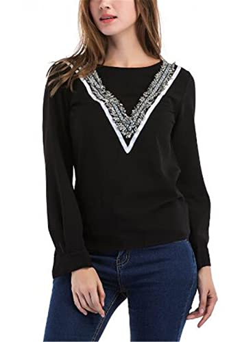 BESTHOO Mujeres Cuello Redondo Manga Larga T-shirt Camiseta Empalme Encaje Tops Maglia Camisa