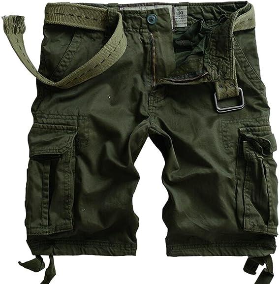 TALLA 29W. Mustway pantalones cortos cargo de sarga de algodón con varios bolsillos para hombre