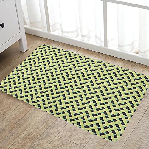 Geometric door mat outside Triangles and Rhombuses with Warm Colors Retro Inspirations Abstract Illustration Bathroom Mat for tub Non Slip16