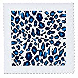 3dRose 3D Rose qs_112935_10 Blue Snow Leopard White Cheetah Spots-Stylish Fur Pattern-Trendy Fun Animal Print-Quilt Square 25-inch