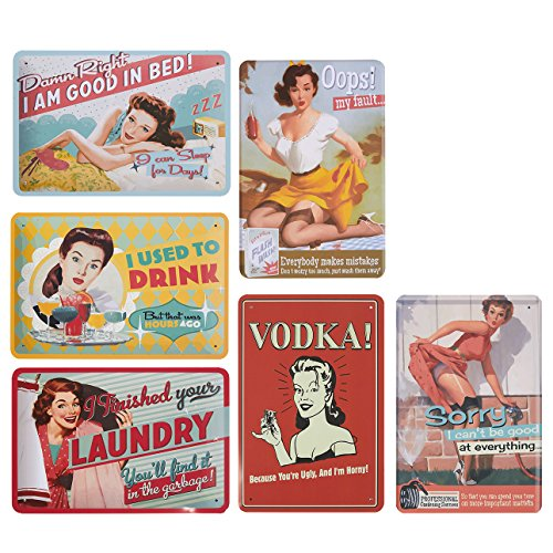 (Juvale 6-Piece Tin Signs - Vintage Style Metal Signs As Wall Decor, Decorative Coffee Bar Sign, Funny Quotes, 11.8 x 8 Inches)