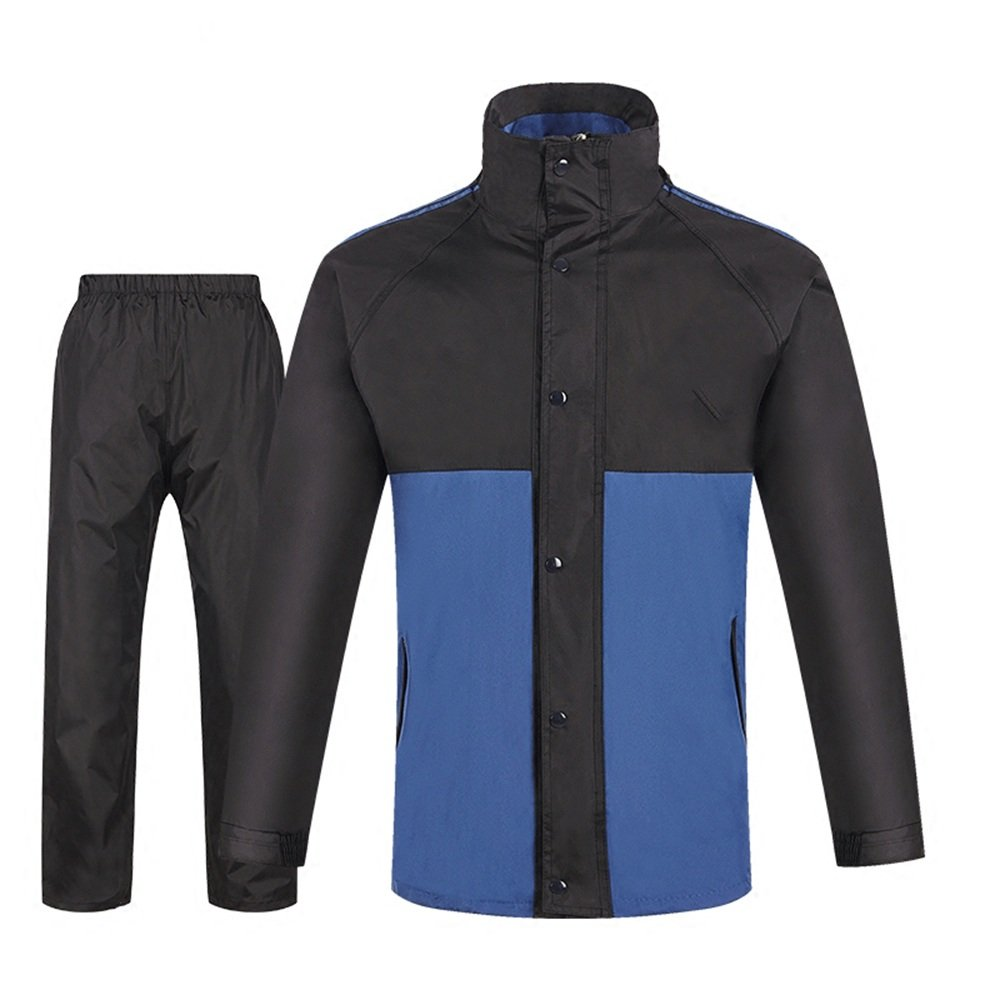 XX-grand Wanlianer Veste de Pluie avec Pantalon pour Hommes Costume extérieur imperméable Fendu de Couleur Bleue et Noire pour des Hommes et des Femmes (Taille   XXXL)