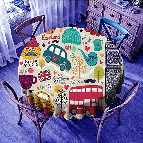 ScottDecor London Table Cover Colorful Local Symbols Painting Red Bus Big Ben Tea Pot Cup Umbrella and Retro Cab Kids Round Tablecloth Multicolor Diameter 60