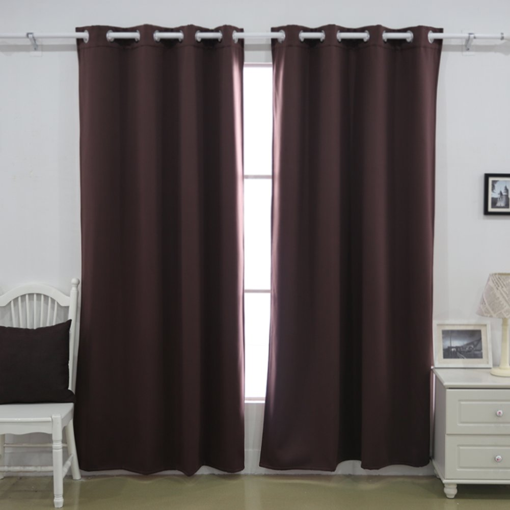 Deconovo Microfiber Blackout Curtains, 52W x 63L Inch, Dark Grey VCCT0235-D