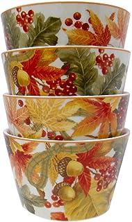 Amazon.com | 222 Fifth Autumn Celebration Square Salad Plates, Set ...