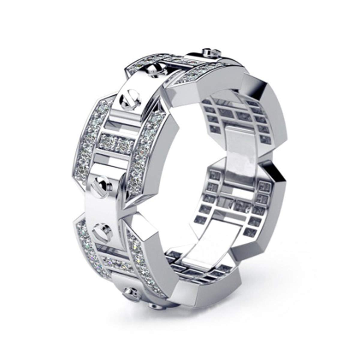 Plating and Diamond Ring Fashion Engagement Wedding Men's Jewelry Silver, Size 9 by Tianorr