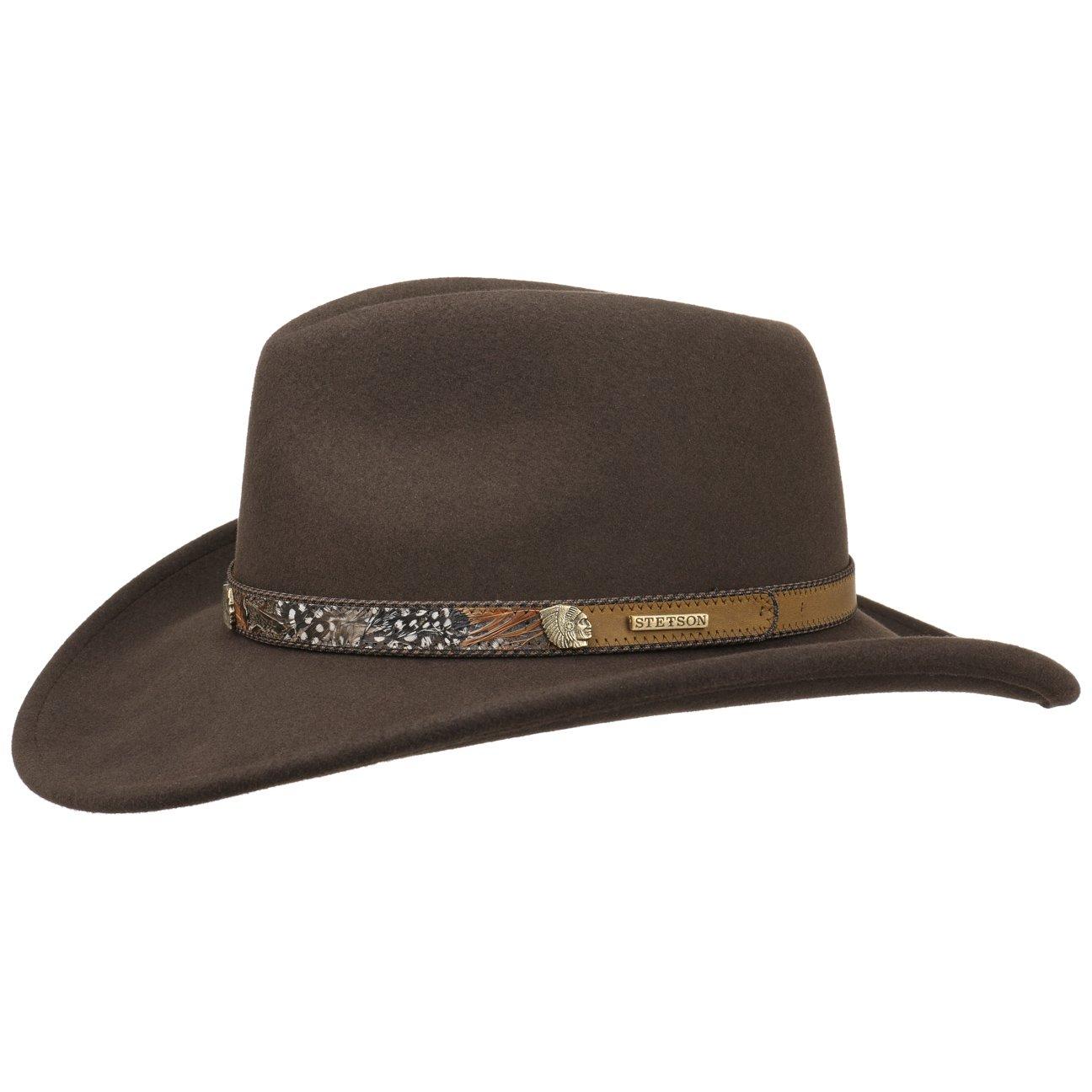 90e479f2507 Stetson Feather Trim VitaFelt Hat Felt hat Wool Felt hat (S (54-55 cm) -  Brown)  Amazon.co.uk  Clothing