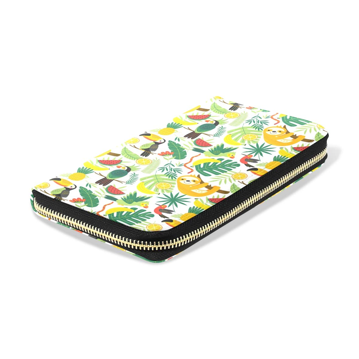Women Tropical Animals Yellow Leather Wallet Large Capacity Zipper Travel Wristlet Bags Clutch Cellphone Bag