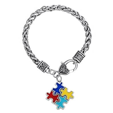 Skyrim Bracelets & Bangles Zinc alloy Enamel Autism Awareness Puzzle