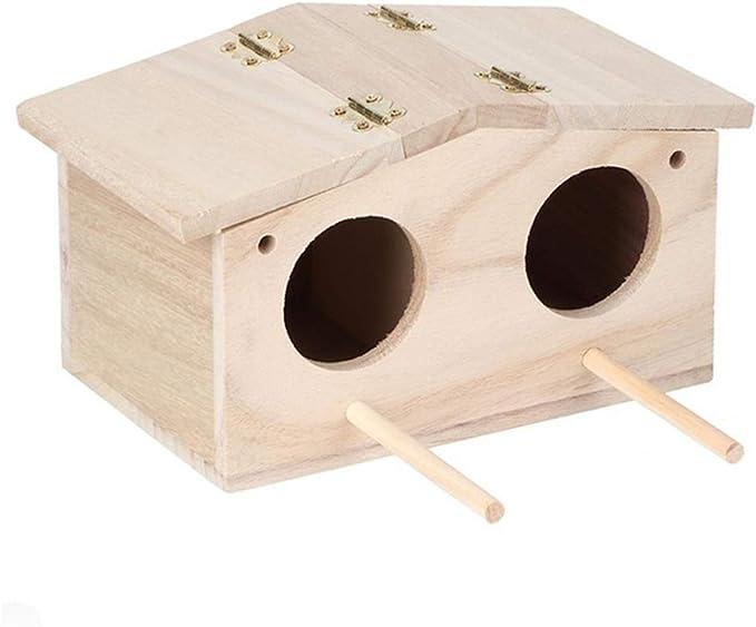 WGGTX Jaulas para pájaros MDF Bird House Parrot Jaula Pájaros Loros Caja de cría Hogar Jardín Colgante Parakeets Finches Gorriones Nest