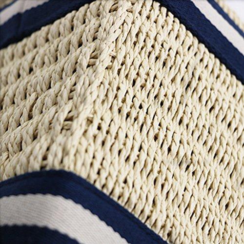 per Donne Vacanze Estiva Blu Borsetta Dexinx Esterne Bianco Attività Tessitura Portatile Bagagli Ecofriendly Borsa Spiaggia Paglia Conveniente le n7qqAx