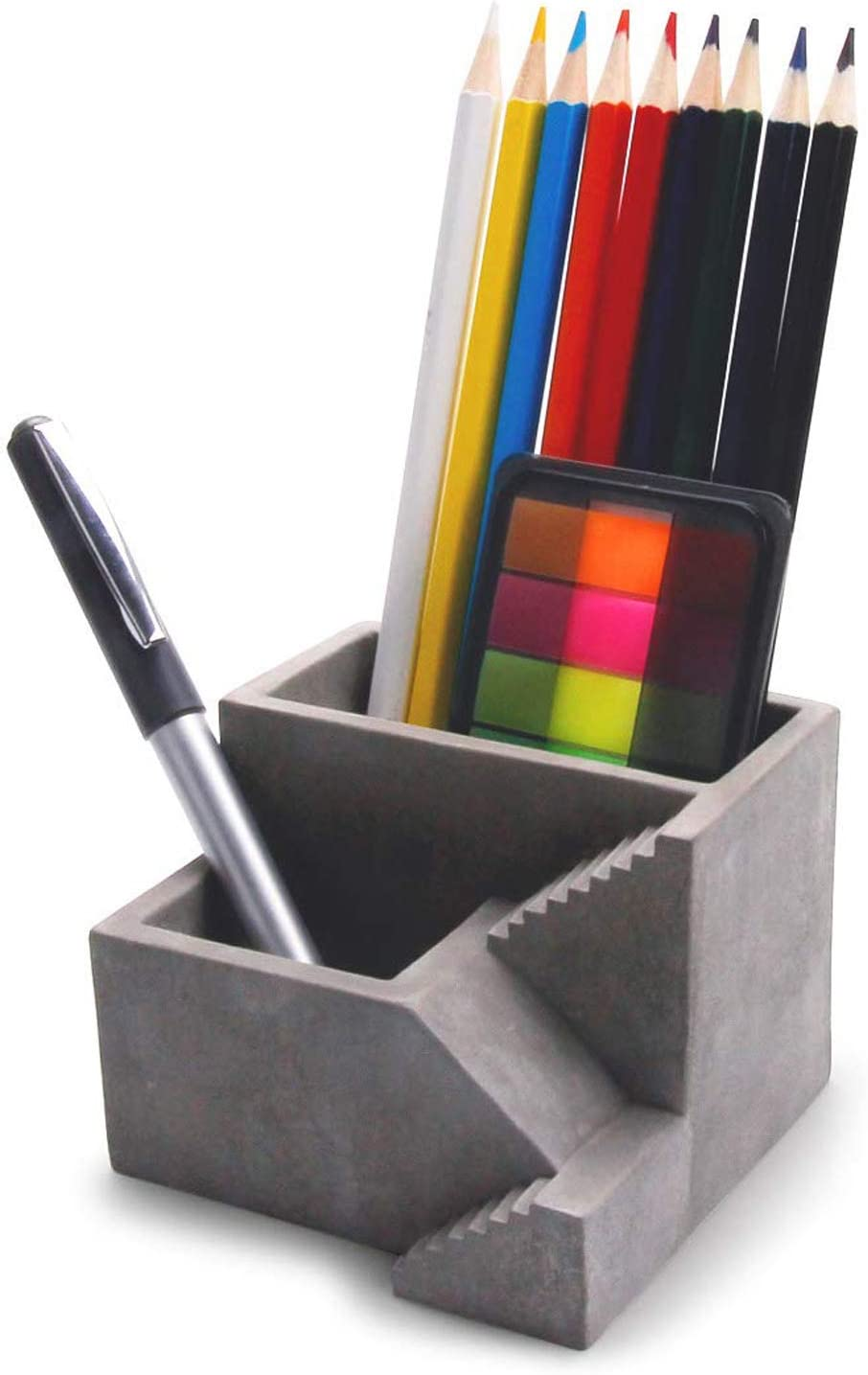 Grey Ideal Office Desktop Organizer with 2 Compartments ComSaf Concrete Desktop Planter//Cement Pen Pencil Holder with Small Succulent Planter Box Set of 1