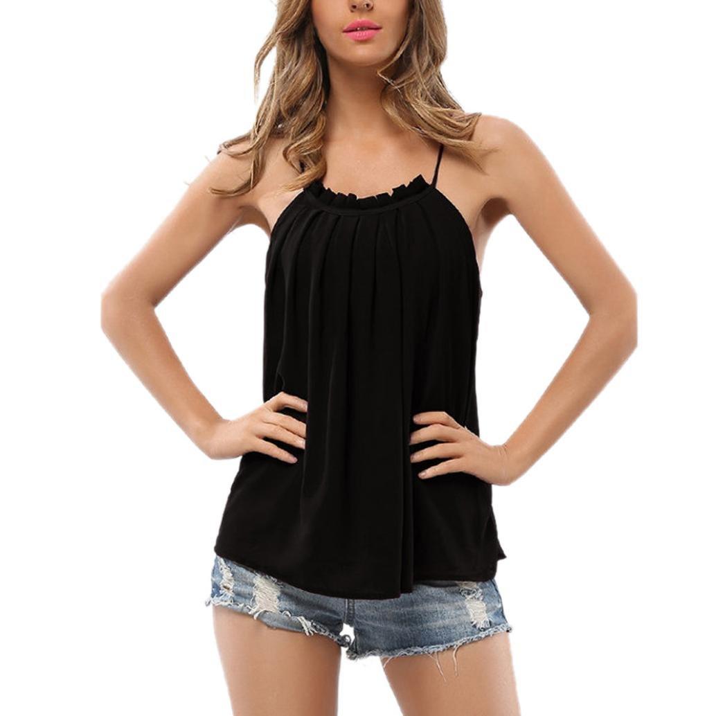 YANG-YI Clearance Women Strappy T-Shirt Sleeveless Chiffon Tops Blouse Vest