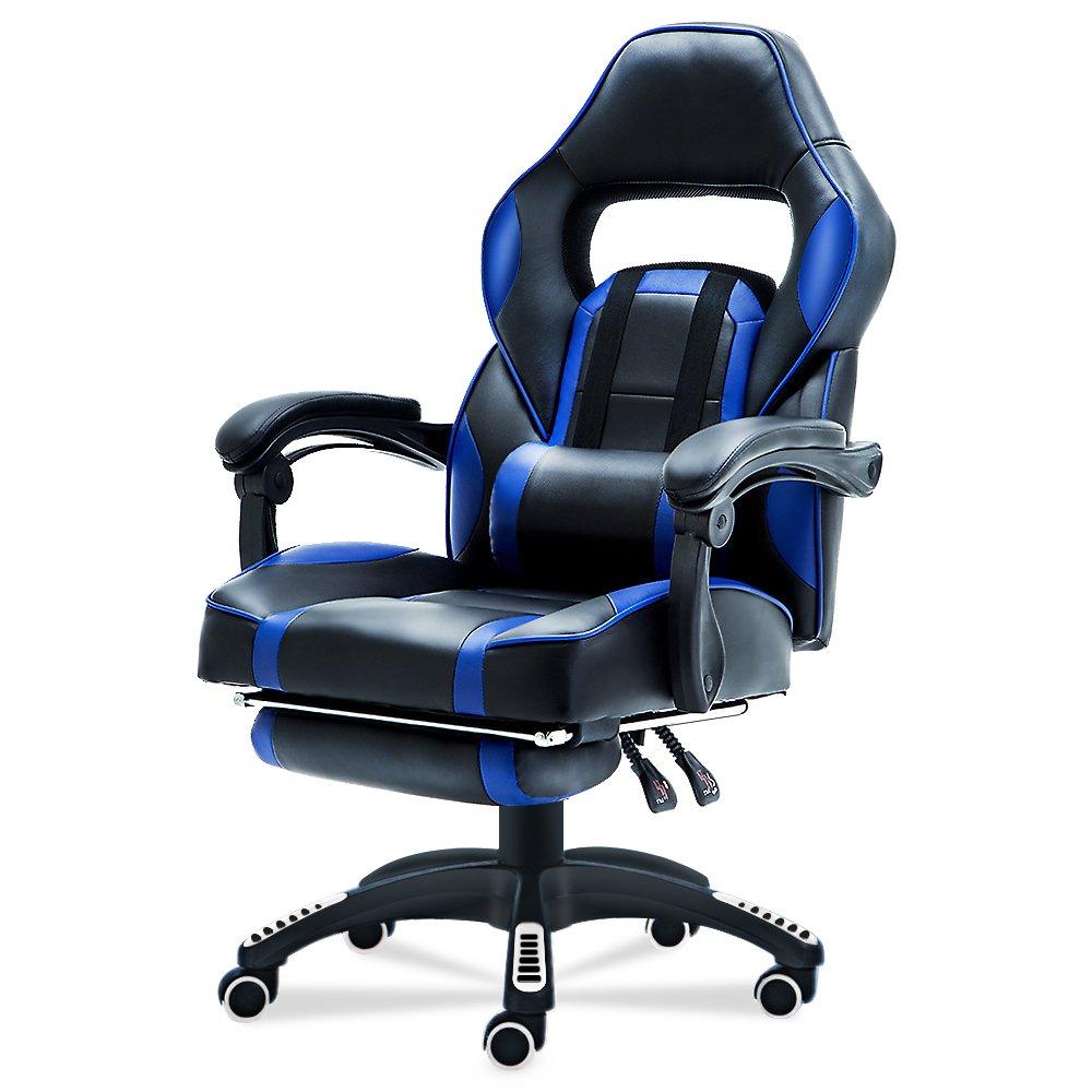 JL Comfurni Gaming Flip sedia ufficio Esecutivo computer scrivania girevole regolabile in altezza ergonomica reclinabile con cuscino lombare e poggiapiedi imbottito