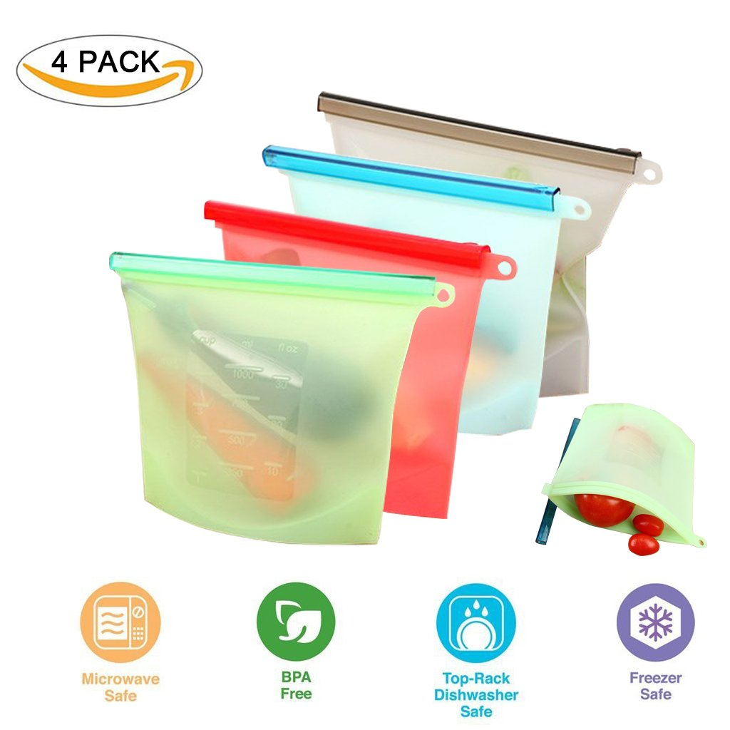 Silicone Food Storage Bags,Reusable Food Storage Cooking Bag Food Preservation Bags BPA Free Airtight Seal Freeze Steam Boil Microwave Safe - 1 liters (30 oz) 4 Pack Weiding