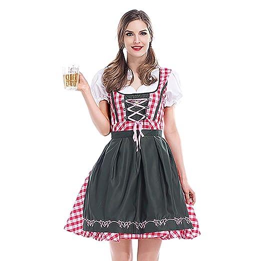 JHY Vestido Dirndl alemán para Mujer 3 Piezas Trajes típicos del ...