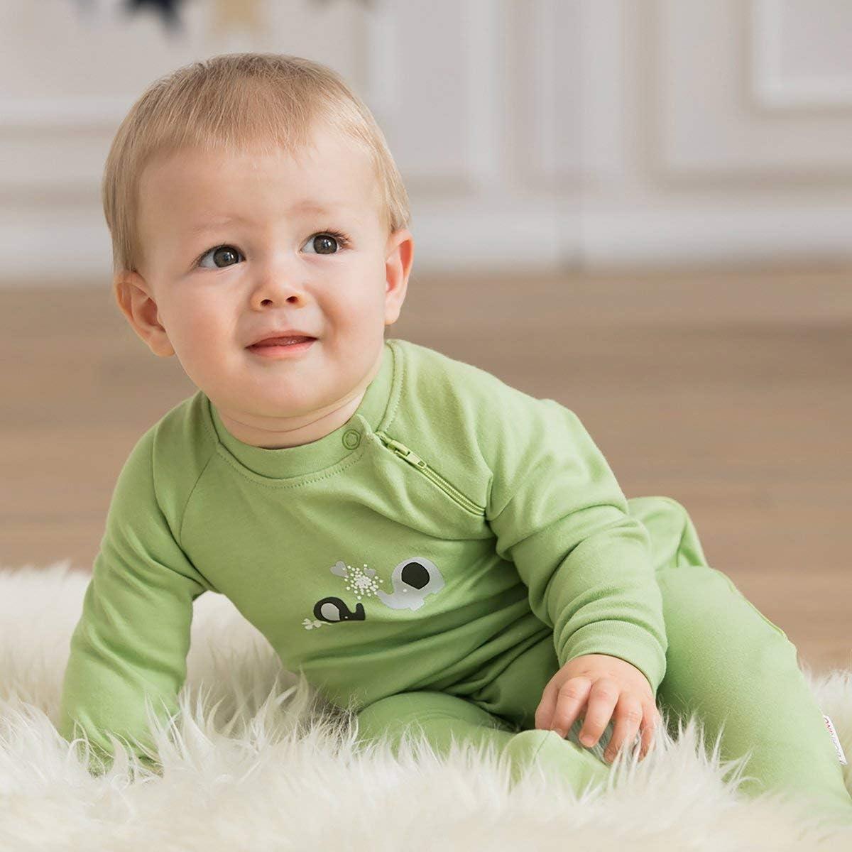 einfarbig//Gemustert Schlafanzug aus Reiner Baumwolle - Baby-Pyjama mit seitlichem Rei/ßverschluss 2er-Pack Bornino Schlafoverall