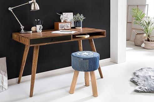 Eckschreibtisch schwarz holz  WOHNLING Schreibtisch REPA schwarz 120 x 60 x 75 cm Massiv Holz ...
