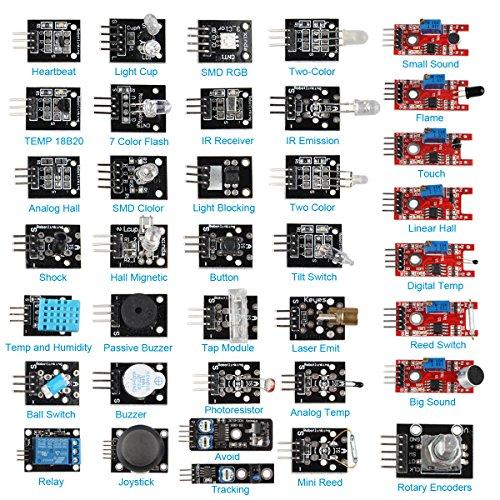 Hengjiaan 37 in 1 Arduino Sensor Module Kit Pack Learning Package Kit for Arduino UNO